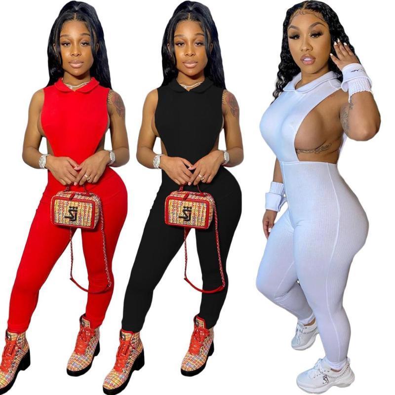 Sexy aptidão Knit Rib Jumpsuit Mulheres Verão 2020 Zipper Salão desgaste mangas Red brancos macacãozinho Mulheres negras Macacão Conjuntos