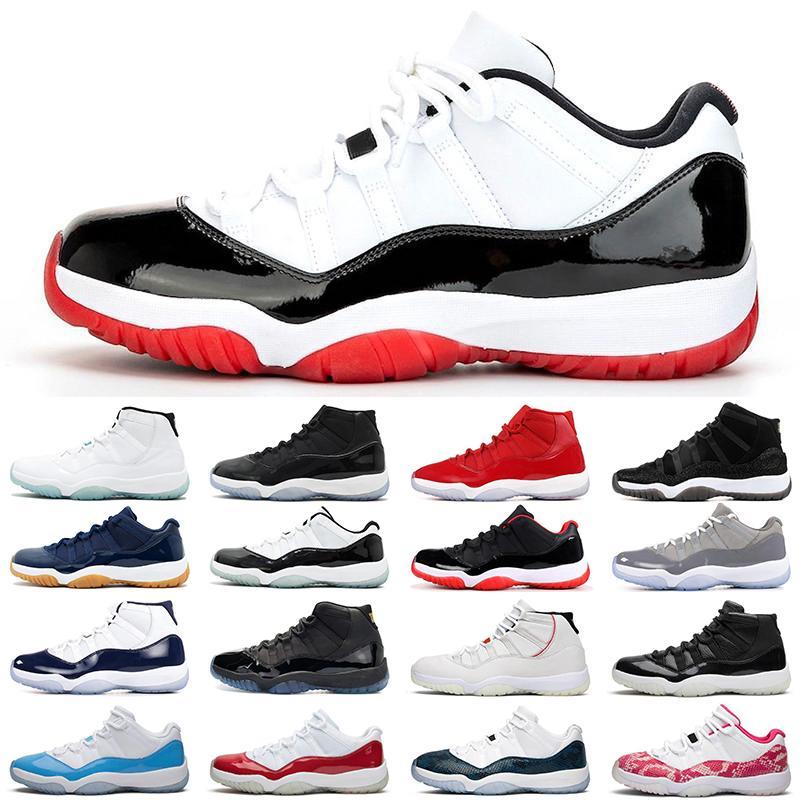 2020 Jumpman 11 erkek bayan basketbol ayakkabıları 11'leri Beyaz Bred Concord Metalik Gümüş Gama mavi Space Jam UNC spor spor ayakkabıları mens