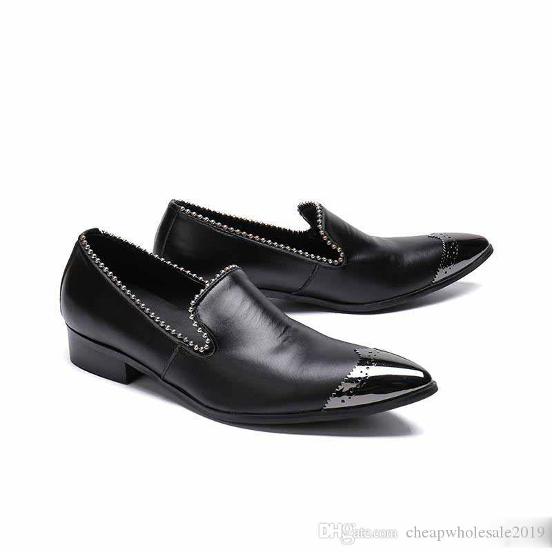 en punta del dedo del pie de deslizamiento de los nuevos hombres de zapatos de cuero genuinos de los hombres mocasines zapatos de boda formal del juego de la noche zapatos de vestir de fiesta