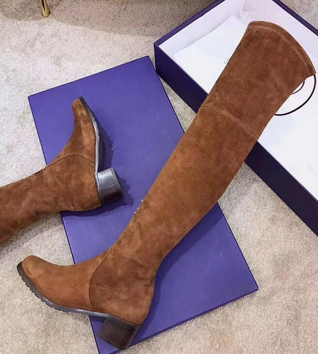 Venta caliente de alta calidad de cuero sobre la rodilla botas altas de espesor inferior elástica para ayudar a los zapatos planos SW negro marrón con cordones
