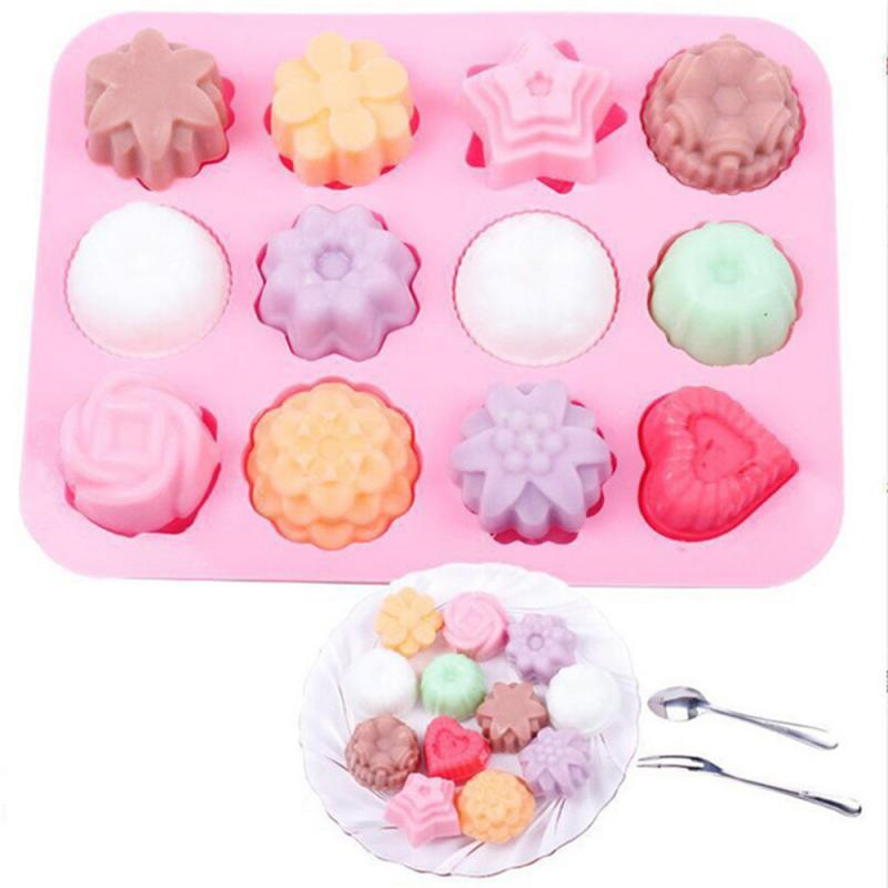 Cake Baking Mould Silicone Soap Mold 3D Chocolate 12 hole Baking Tray Molds Candy Making Tool DIYJelly mold baking tools
