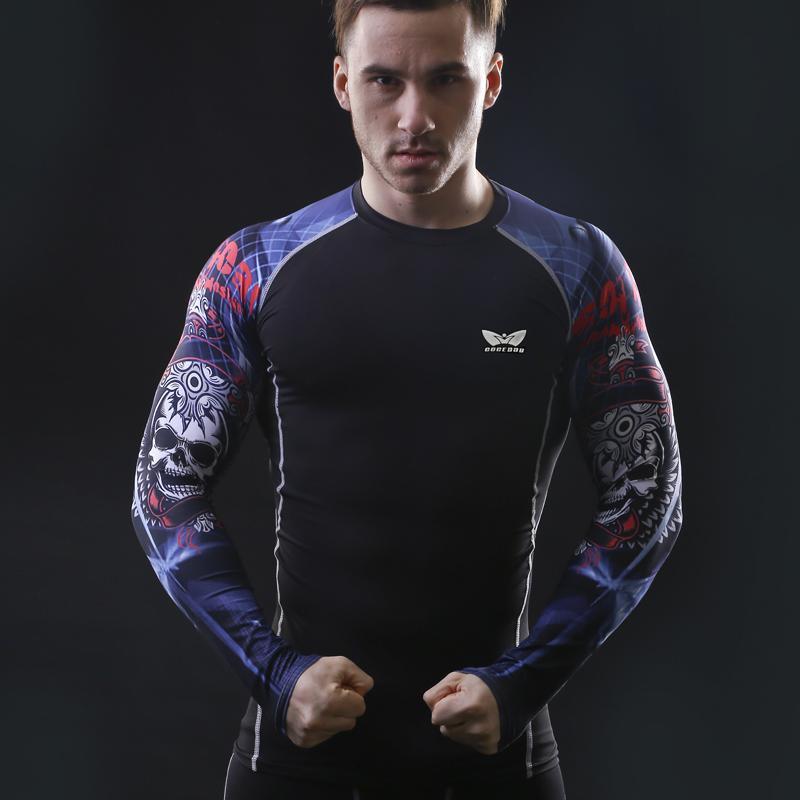 Spandex Erkekler Sıkıştırma Uzun Kollu Nefes Hızlı Kuru T Gömlek Vücut Geliştirme Halter Baz Katman Spor Sıkı Tişört Trend Tops