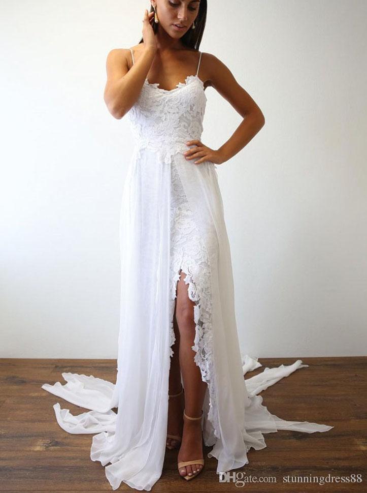 Mode plage Robes de mariage d'été mariée robe de dentelle en mousseline de soie Spaghtti Slit Cour Blanc train Pays Designer Robe de mariée