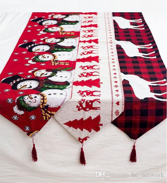 عيد الميلاد الجديد الديكور الجدول عداء الجدول القماش بوليستر عيد الميلاد عيد الميلاد العلم إلك ثلج الجدول عداء لعطلة الشحن المجاني