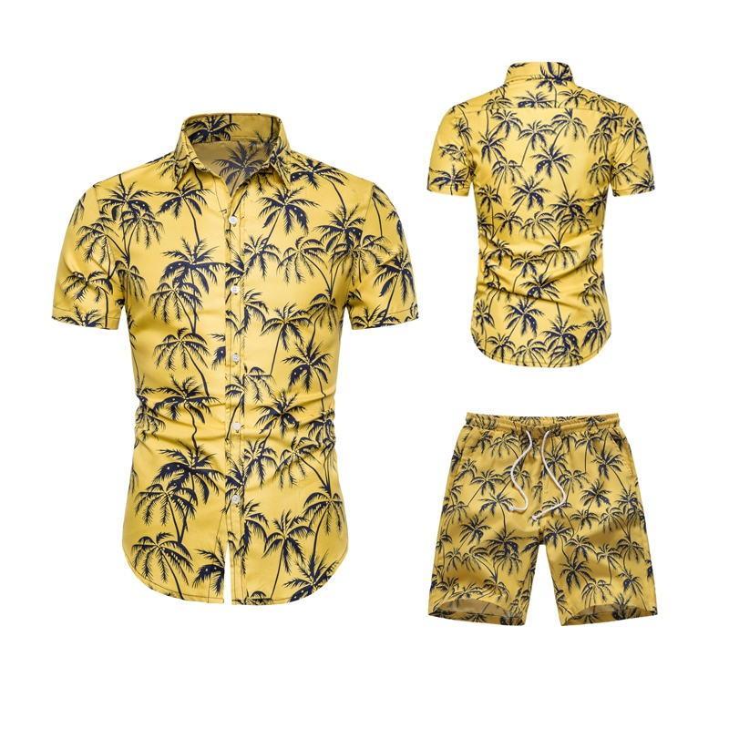 Conjunto de hombres Camisa de moda con pantalones cortos Camisa casual Trajes Suelta Fitness Manga corta Algodón Chemise Homme