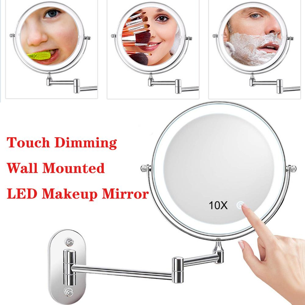 10X Magnifying Wall Mount Makeup Mirror 2-face Touch Dimming LED Light Vanity Mirror Cosmetic Mirror Grossissant Miroir Mural CX200630