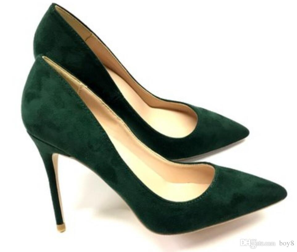 neue schwärzlich grüne Wildleder orange Frauen rot unten Höcker feine Ferse Schuhe mit hohen Absätzen mit flachem Mund einzelne Schuhe Größe 45 Hochzeit 10cm