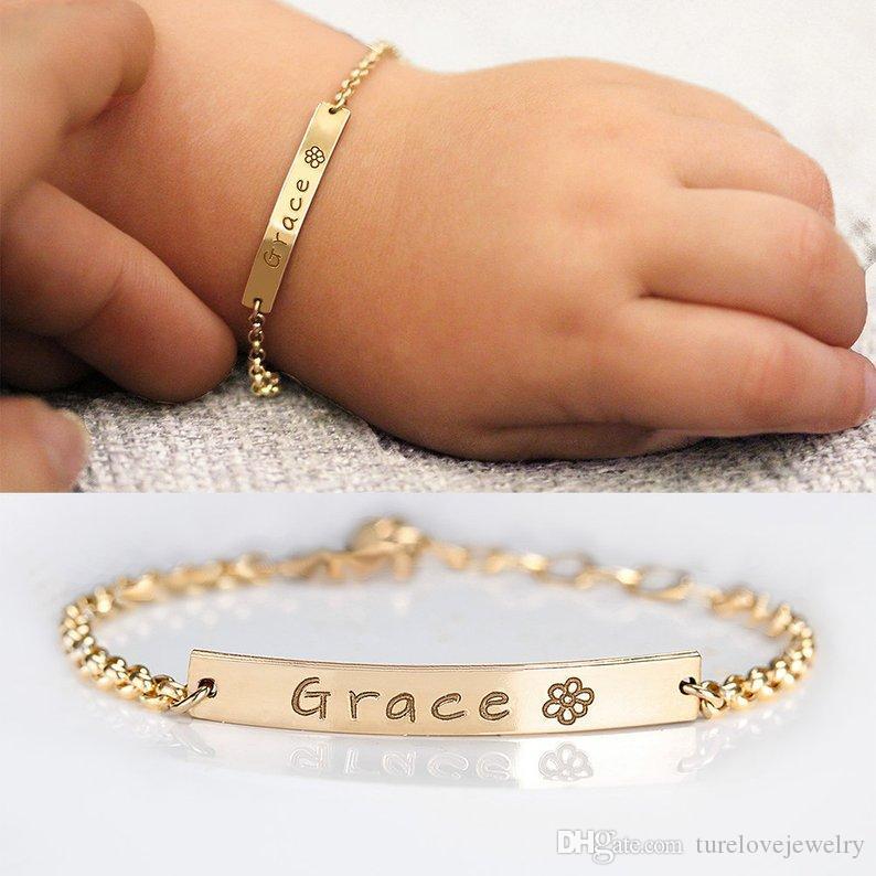 الطفل اسم مخصص سوار الفولاذ المقاوم للصدأ قابل للتعديل الطفل طفل الطفل ID سوار شخصية فتاة بوي هدية عيد ميلاد