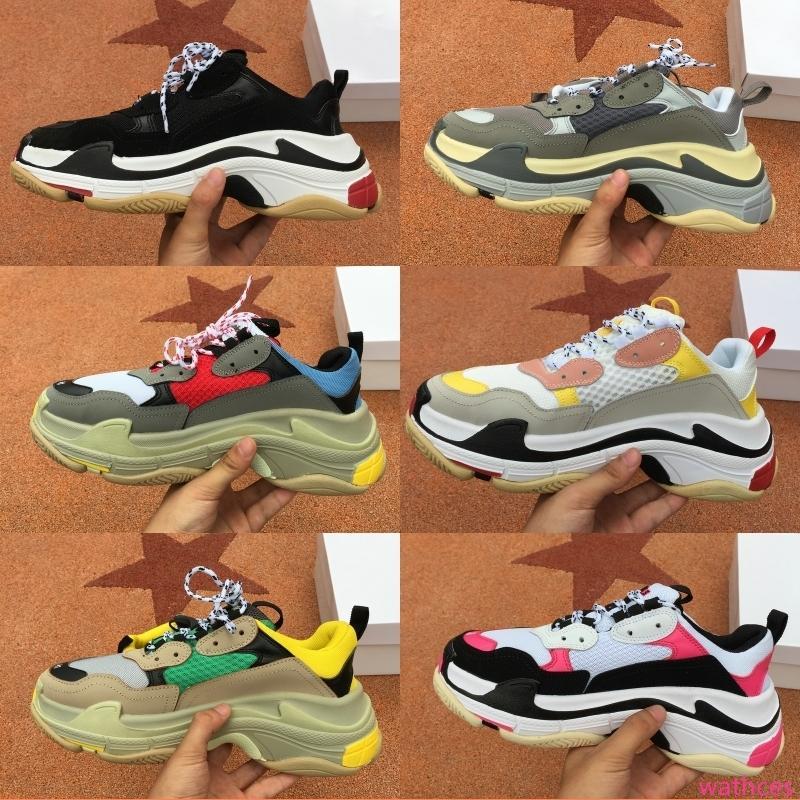 Top Quality 2019 Multi lusso Triple S Designer piattaforma Combinazione Vecchio Papà moda della scarpa da tennis delle suole delle donne degli uomini dei pattini casuali formato 36-45