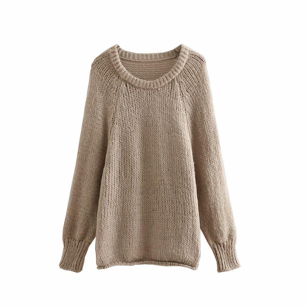 Woolen Blended Women Sweater 2019 Oversize Womens Chic Pullovers Ladies Knitted Khaki Sweaters Girls Street-wear Loose Knitwear