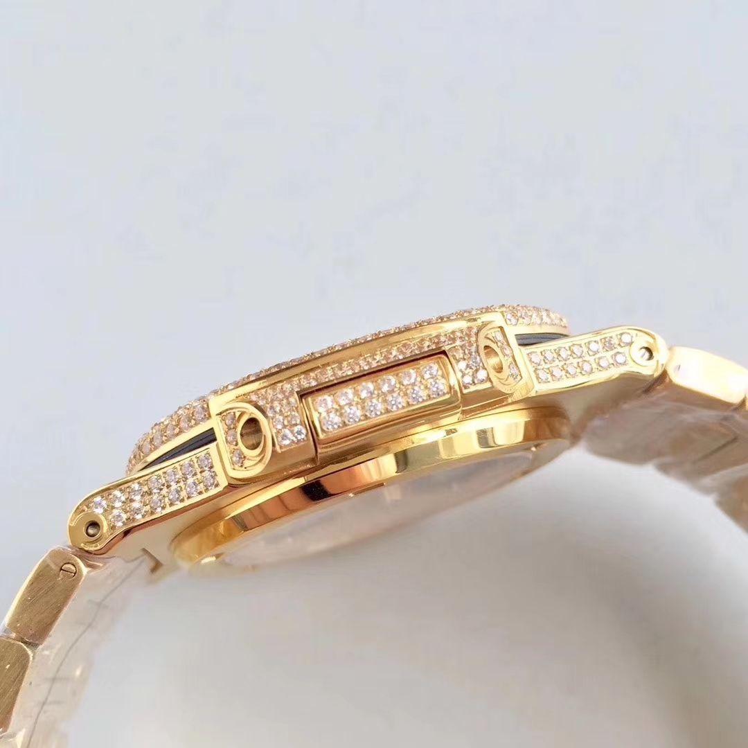 40 мм верхняя версия Full Oced Out out Diamond Dial Case Bracete Gold Automatic 324SC Движение Мужские Часы Наручные часы 5719 Часы Сапфировый кристалл
