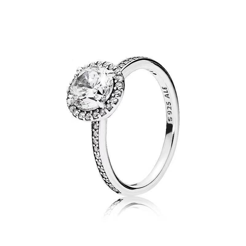 حقيقي 925 الفضة الاسترليني عصابة CZ الماس باندورا المرأة نمط الزفاف خاتم الخطوبة المجوهرات