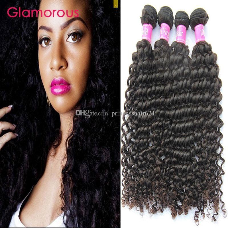 Glamorous Bakire Saç Örgüleri 4 Parça Brezilyalı Derin Dalga Saç Demetleri Ucuz Perulu Hint Malezya İnsan Saç Uzantıları Siyah Kadınlar için