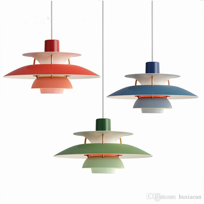 Nordic e27 LED 샹들리에 다채로운 우산 일시 중지 램프 다이닝 룸 펜던트 램프 빛 실내 조명기구 EMS