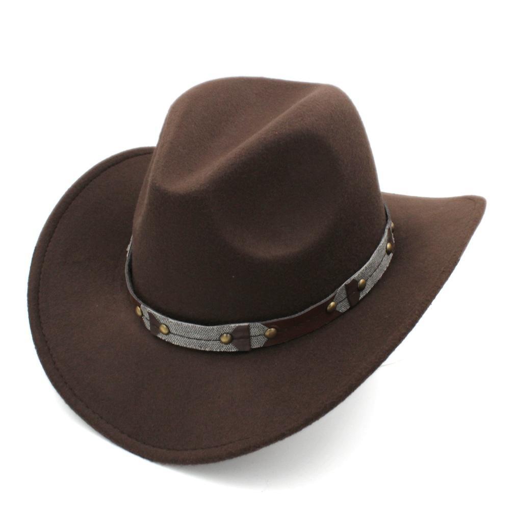 Femmes hommes laine Fedora Western Big Brim Roll-up Large Bord Cowgirl Jazz En Plein Air Street Party cap chapeaux feutre de laine classique Cowgirl Plage Sombrero