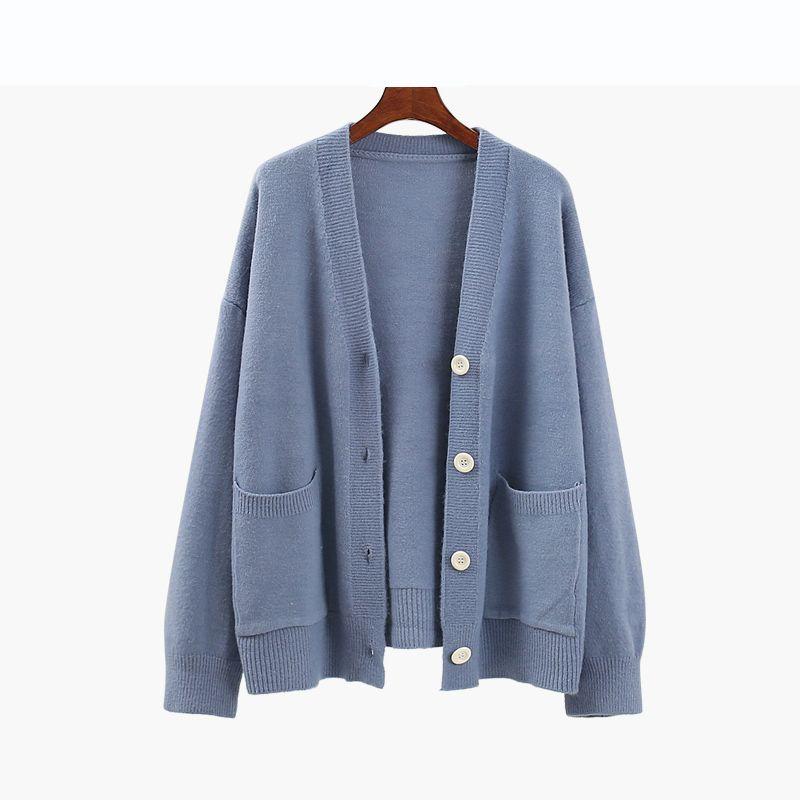 Женские вязаные тройники синий осень вязаный свитер женщины прилив мода свободно теплые кардиганы случайные v-образные вырезы с длинным рукавом зимние пальто