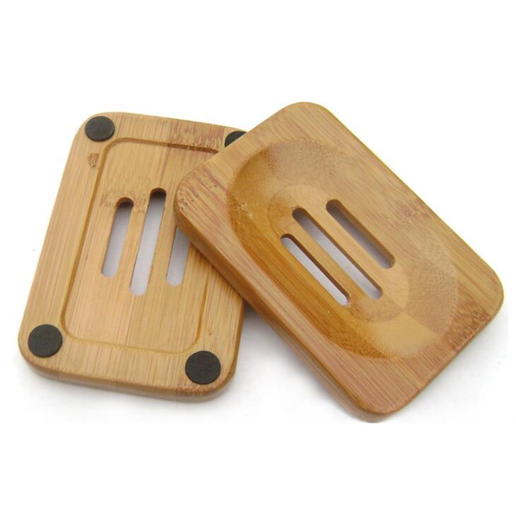 Jabón natural de bambú de madera estante de madera sostenedor del jabón Caso Bandeja Plato Plato Caja de almacenamiento de contenedores para el baño ducha baño LX2010