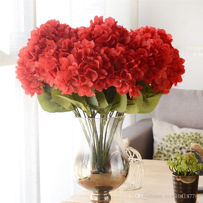 Artículos de fiesta Cabeza de flor de hortensia artificial 48cm Seda falsa Hortensias de tacto real 8 colores para centros de mesa de boda Flores para el hogar