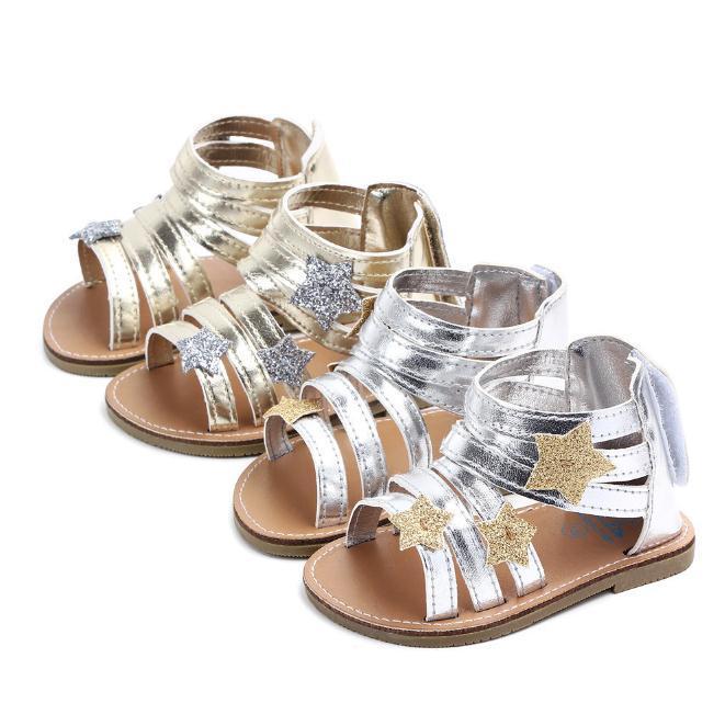 طفل رضيع فتاة حديثي الولادة طفل الصنادل الصيفية أحذية Prewalker ستار الاحذية 0-18M