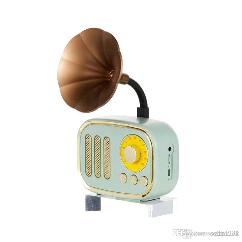 A67Retro gramófono caja de música mini altavoz portátil Bluetooth Wireless radio de FM FT Tarjetas de espera largo Altavoces en stock
