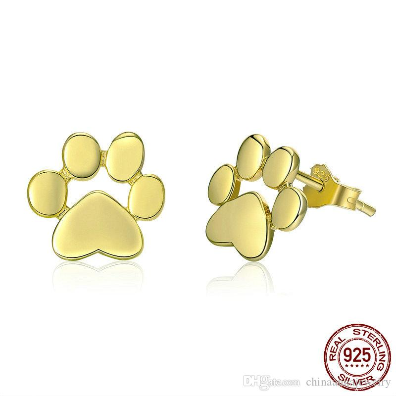 14ct Rose Gold-Plated 925 Sterling Silver Dog /& Paw Print Stud Earrings