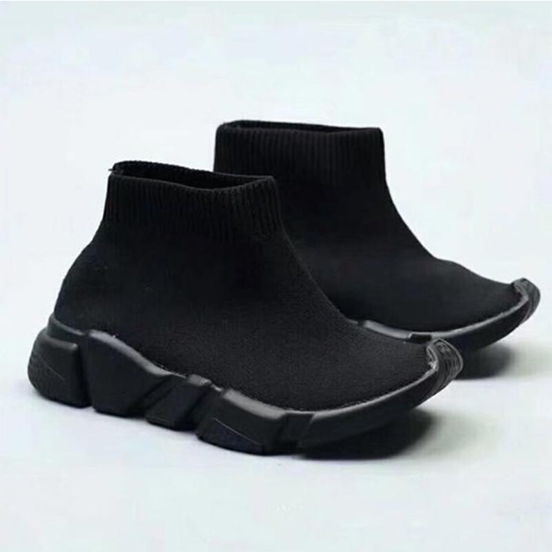 botas de moda para los zapatos de los niños Speed Trainer calcetín zapatillas de deporte del niño Niños Niñas jóvenes calcetines triples rojos negros zapatos del diseñador Niños Niños 24-35