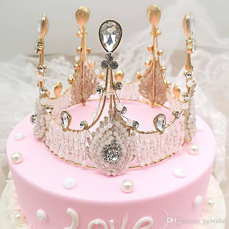 Gold Stirnband Strass Brautschmuck Hochzeitstorte Krone Braut handgemachte Kristalle Perle Haarband Luxus Haarschmuck Kopfschmuck Tiara