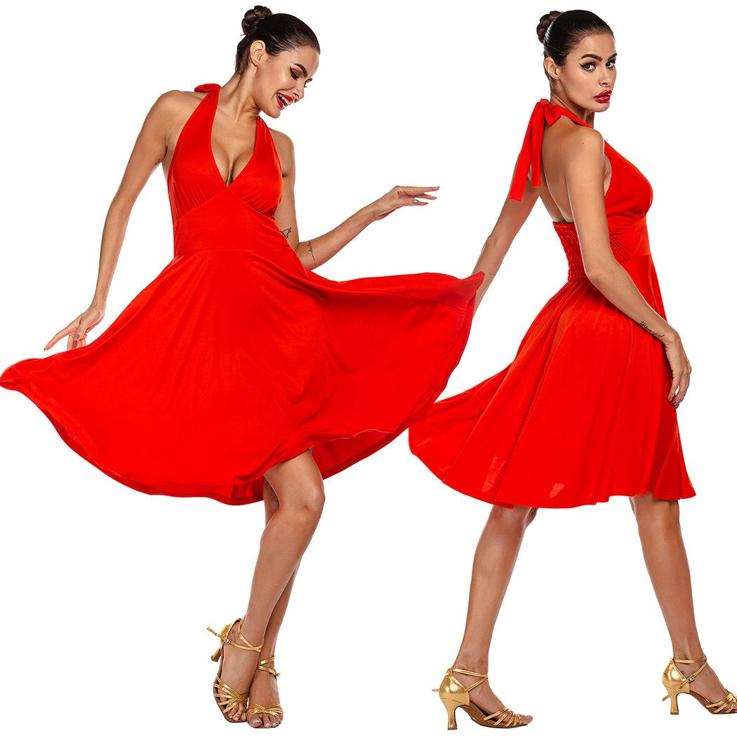 Summer for Backless Big Hem Latin Dance Clothes Womens Adult Dress