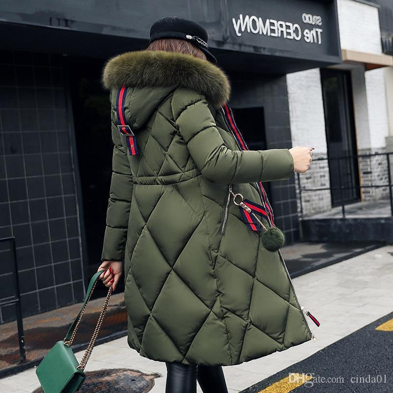 coat Big inverno da pele engrossada mulheres parka costura fino casaco longo inverno para baixo feminina de algodão para baixo parka para baixo mulheres jaqueta