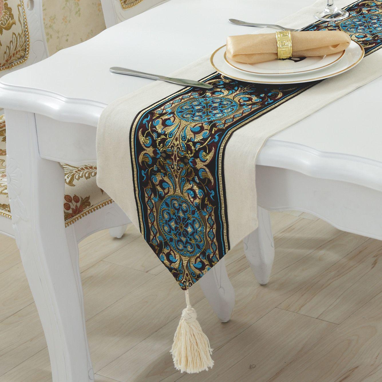 Einfache moderne europäische Luxus Tischläufer bestickte Leinen solide Couchtischläufer Tischdecken mediterrane Bettläufer