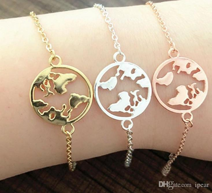 American European Fashion 14K Gold Filled Chain Bracelets Minimalism Map Charm Bracelet Jewelry for Women Girls