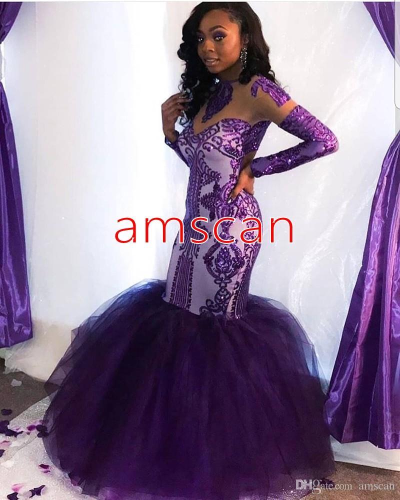 Brillo púrpura Lentejuelas sirena vestidos de noche africanos Sheer manga larga elegante del partido Vestidos formales de árabe de Dubai largo vestido del desfile de fin de curso