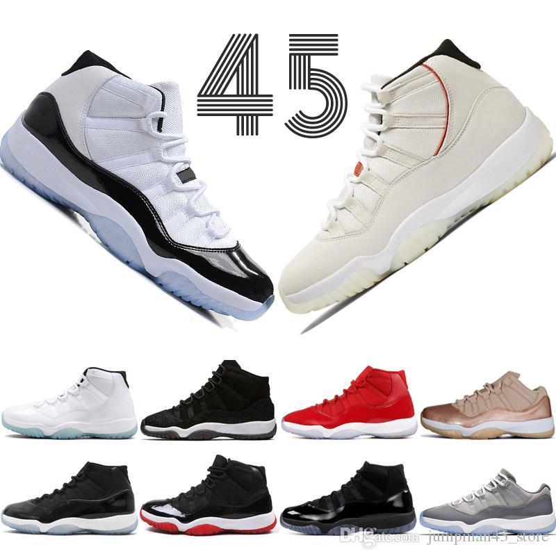 11 11s Tênis de basquete Concord 45 Platinum Cap Tint e vestido gama azuis 72-10 PRM Heiress Academia Espaço Red Doces de designer sneakers