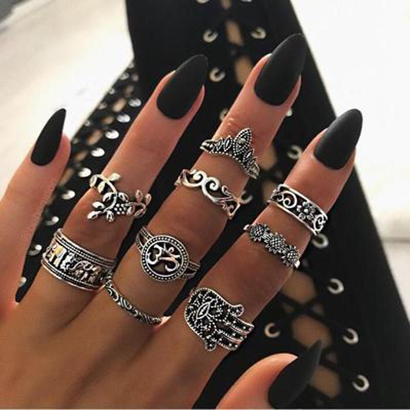 9pcs / set dedo Boho Anillos Juego de regalo 4618 de la Mujer del punk elefante de la flor ahueca hacia fuera la astilla de nudillo de joyería de los anillos