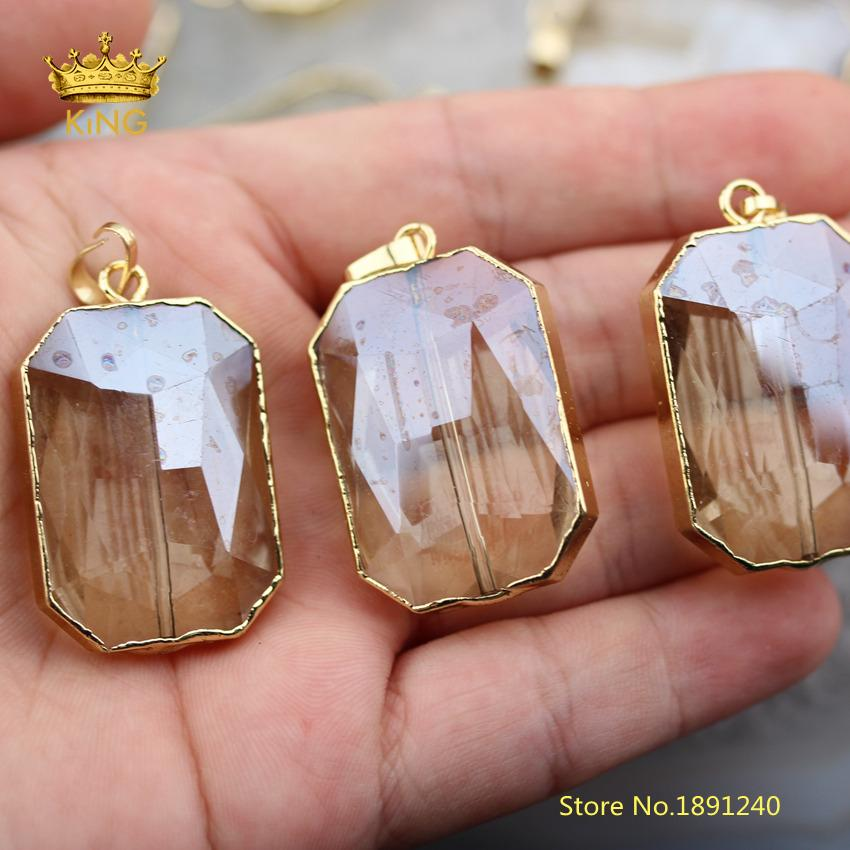 10pcs Champagne Glass Faceted Rectangle Loose  Pendants,Cut Glass Plated Gold Edged Copper Charms Crafts Necklace ZJC02