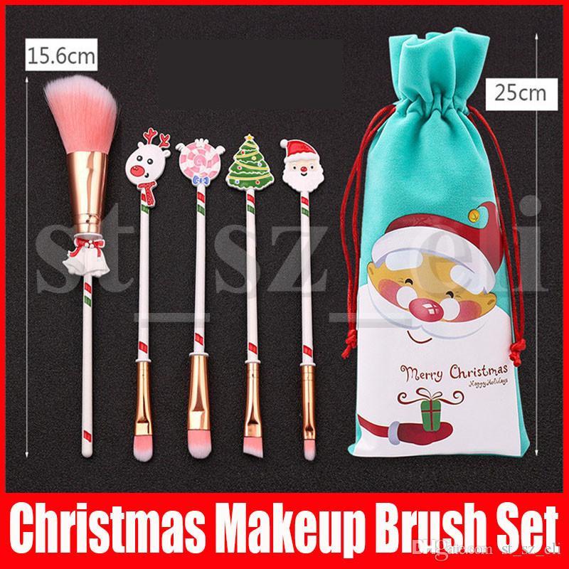 Noel Hediyesi 5pcs / Çanta Göz Farı Allık Dudaklar Santa Çuval Fırçalar Ren Geyikleri Noel Baba ile ayarlanan Makyaj Fırça Seti Fırça Araçları Makyaj