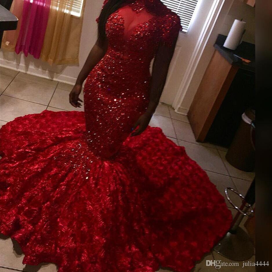 Vestidos de fiesta rojos románticos Sirena con volantes florales escarpados Vestido de fiesta Vestido de noche sin mangas con cuentas con sujetador Tren de barrido