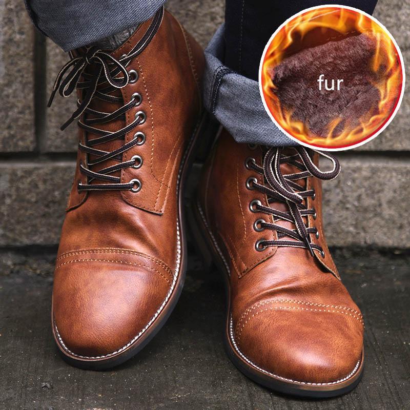 Masorini hommes Pu cuir à lacets Chaussures Homme de haute qualité Hommes Vintage British Bottes militaire Automne Hiver Taille Plus 47 48 BRM-060
