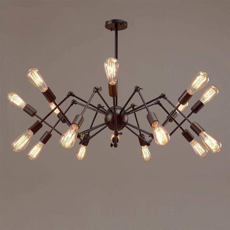 Modern Yaratıcı Loft kolye demirbaşlar Sanat Dekorasyon Aydınlatma E27 Sanayi bağbozumu siyah büyük Örümcek kolye lamp110V`260 ışıkları