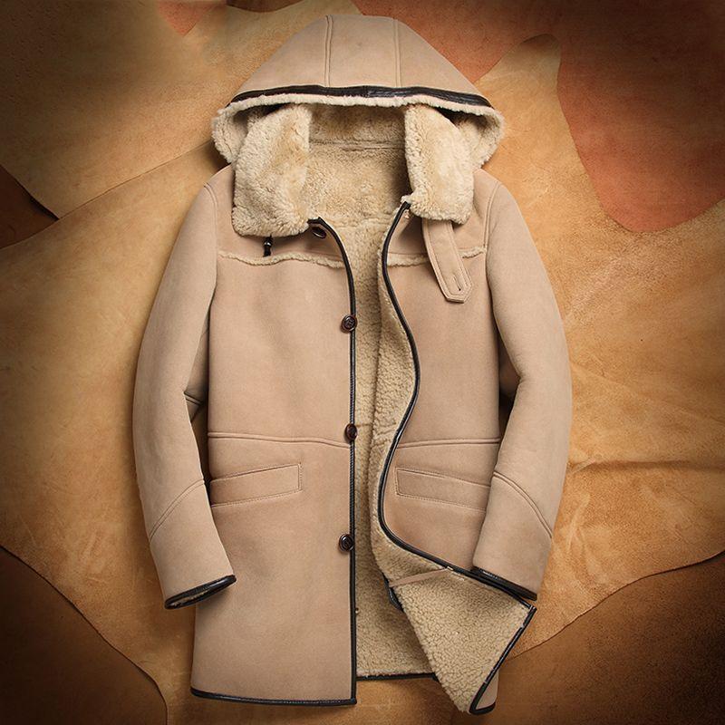 Kapuze Mens Shearling b3 Schaffell-Mantel-lange Art-Mantel-Pelz-Jacke Gut aussehend Business Casual Travel Jacket