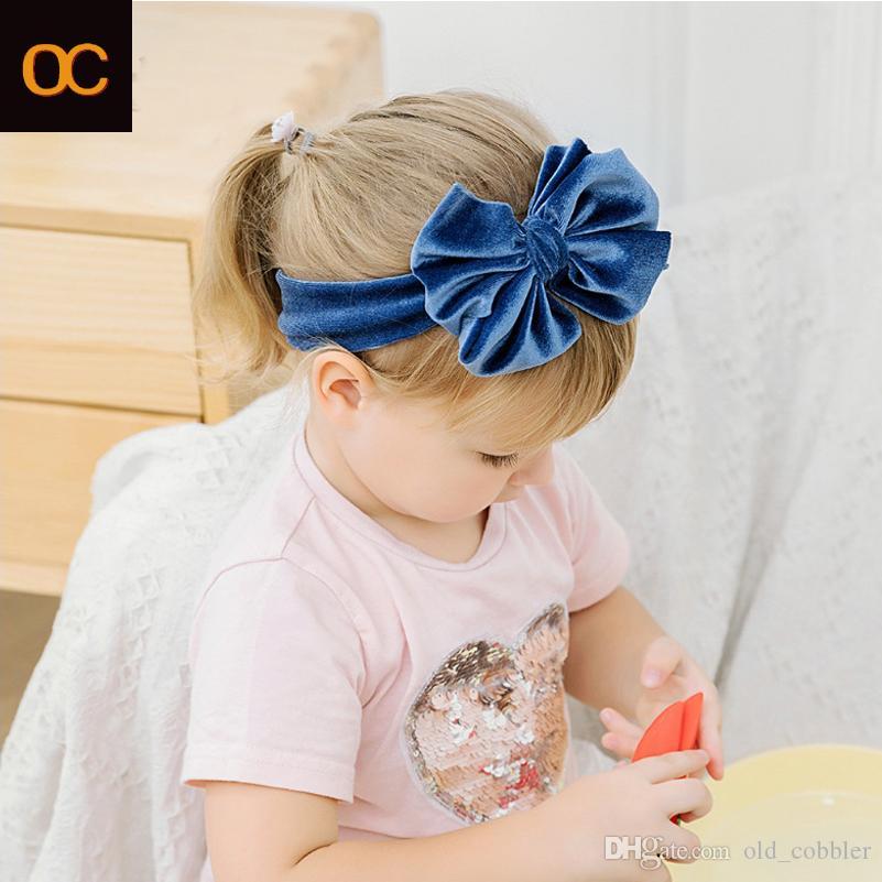 OC's 2021 readband الأطفال الصلبة اللون فلانيليت النايلون اكسسوارات للشعر كبيرة الحجم الطفل الشعر الفرقة المخملية شعار مخصص