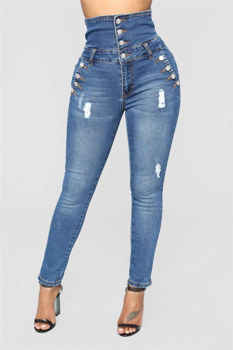 Mulheres Moda Designer Jeans Sexy lavados e rasgados Pants Magro cintura alta lápis Mulheres Moda Vestuário Designer