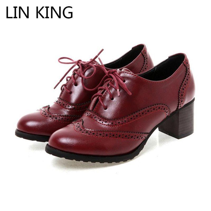 LIN KING Большой размер Shallow Женщины Toe насосы Остроконечные Узелок Низкие Лучшие Женские Oxfords Обувь Толстый каблук Девушки BROGUE Туфли на высоких каблуках