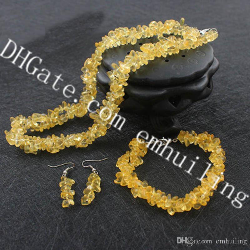 10 Set Natural Quartz Crystal Tumbled Stone Beads Choker Necklace Healing Gemstone Earrrings Reiki Chakra Bracelet Fashion Women Jewelry Set