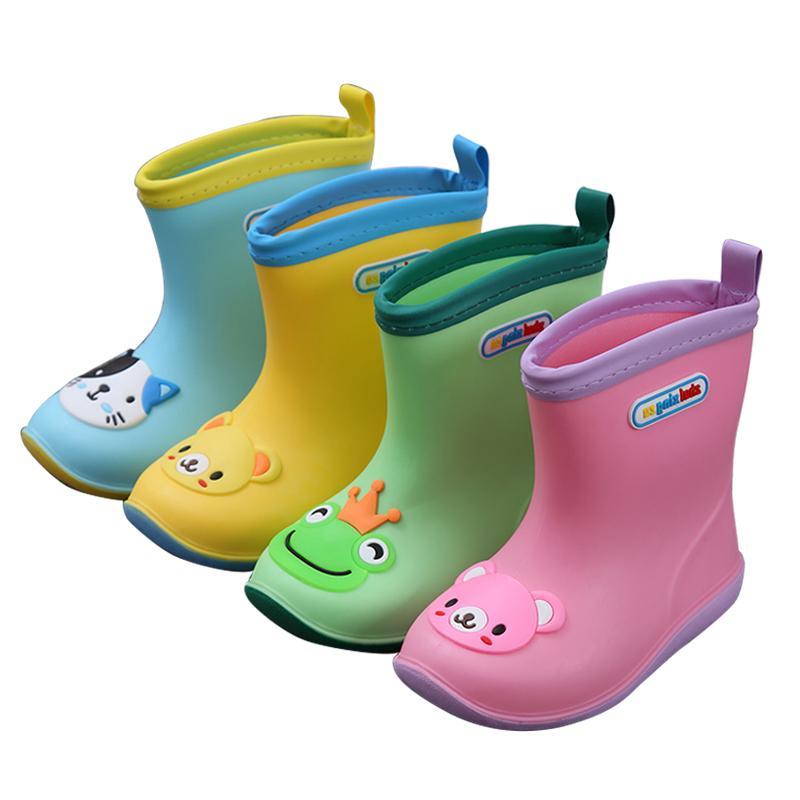Los niños impermeable RAINBOOTS bebé de lluvia de goma zapatos caliente los niños muchachas de los muchachos de los niños botas de lluvia muchacha del muchacho de lluvia zapatos algodón-pad Y200104