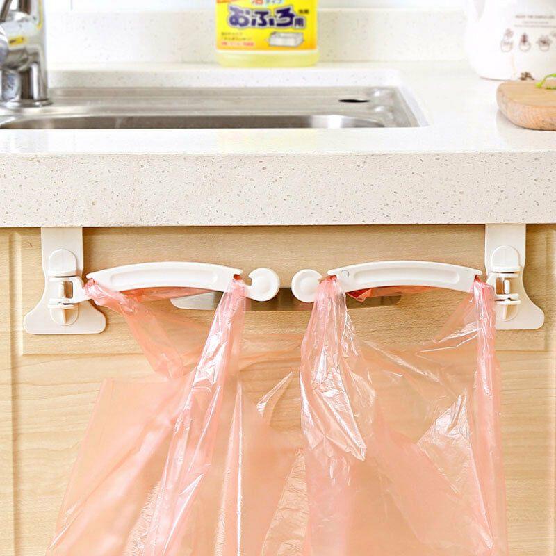 2pcs Plastic Trash Garbage Bag Holder Hanging Rack Shelf Kitchen Cupboards UK