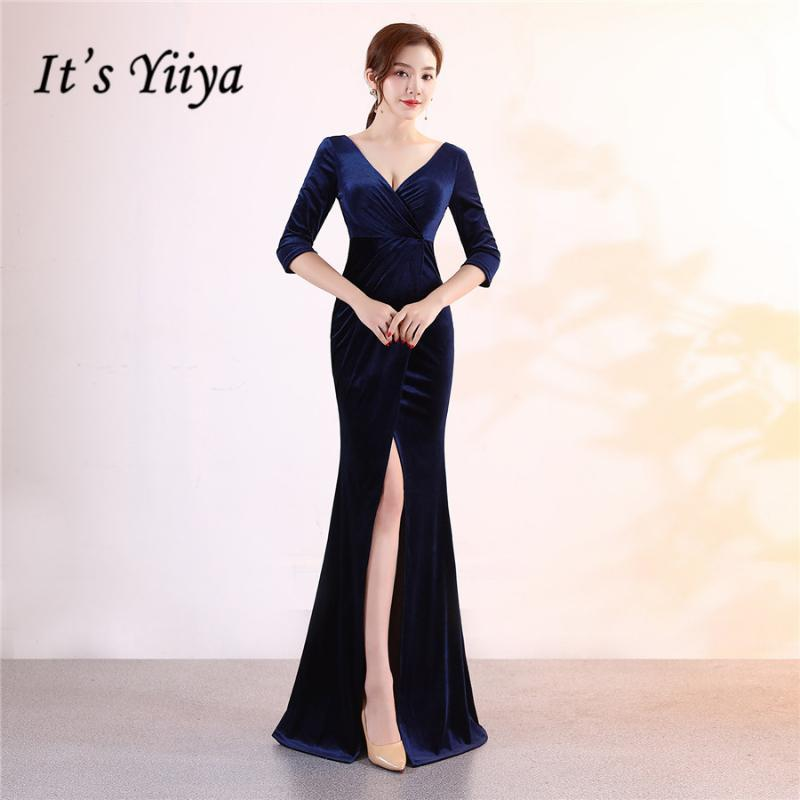 Elegant Mermaid Evening Dress It's Yiiya DX372 Three Quarter Sleeve Velour Special Occasion Dresses Zipper Evening Gown