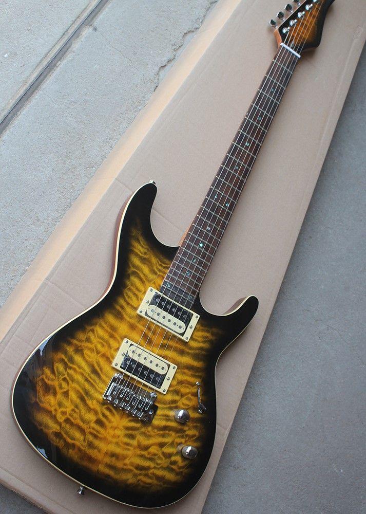 Pickguard HH ile sarı elektro gitar, gülağacı klavye, alev bej kaplama, kişiselleştirilmiş hizmet