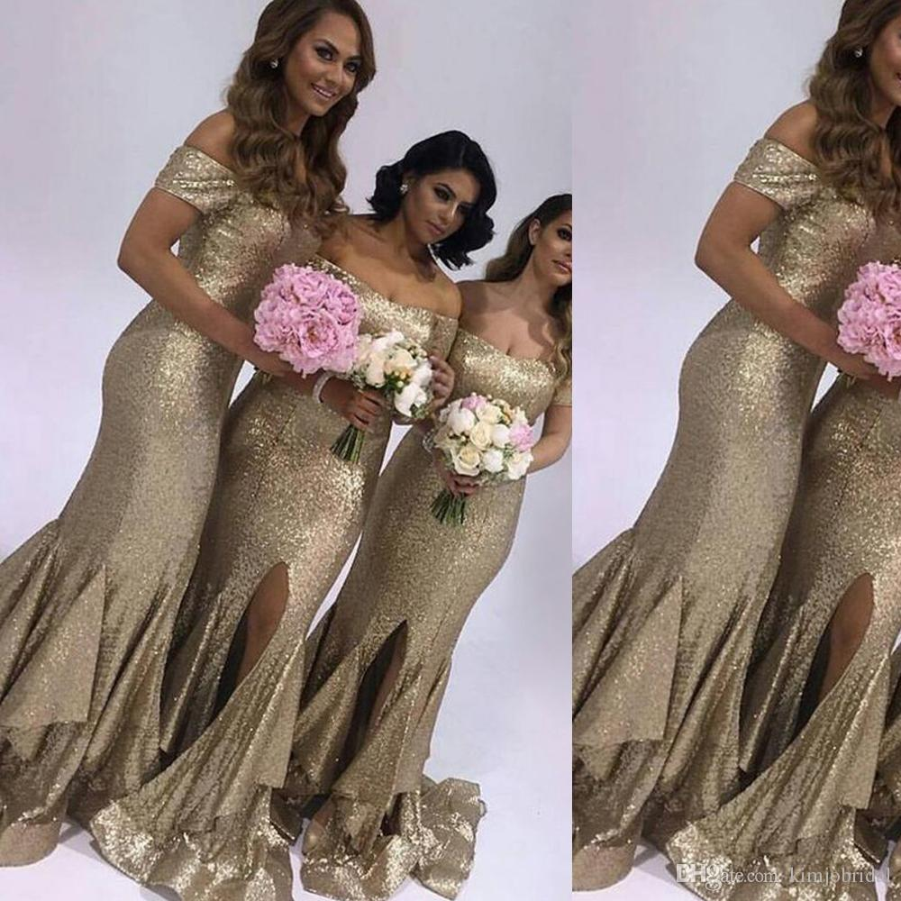 Gold Bridesmaid Dresses Sweetheart Neckline Short Sleeve Mermaid Side Slit Fishtail Maid Of Honor Dresses Gowns Wedding Party Dress Modest Bridesmaid