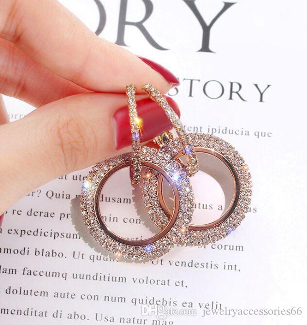 дизайн творческие ювелирные изделия высокосортных элегантные серьги кристалла круглые золотые и серебряные серьги свадьба 925 серебряные серьги для женщин